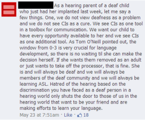 """""""She is and will always be deaf and we will always be members of the deaf community and we will always be learning ASL."""""""